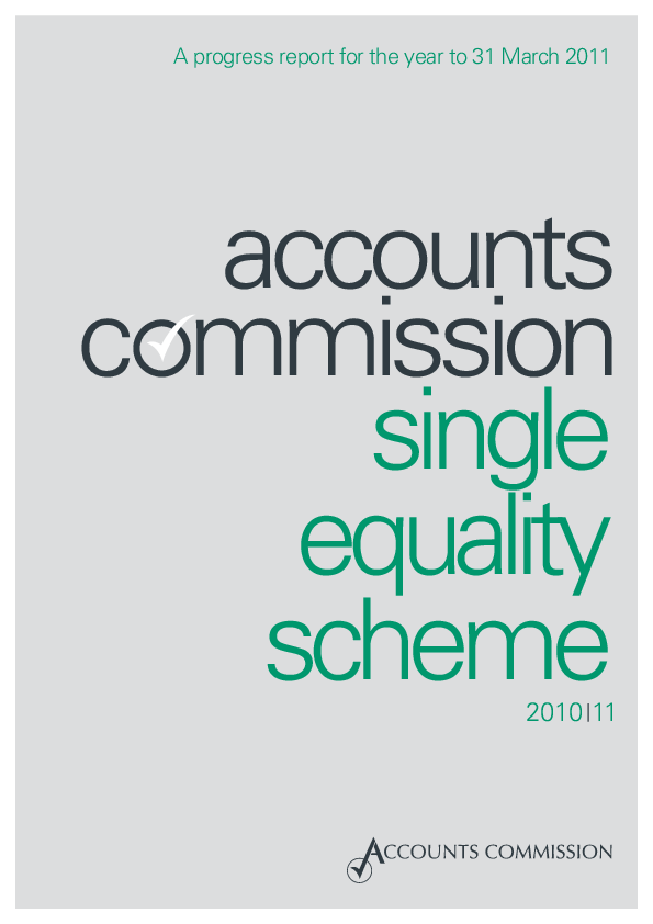 Report cover: Accounts Commission Single Equality Scheme 2010/11