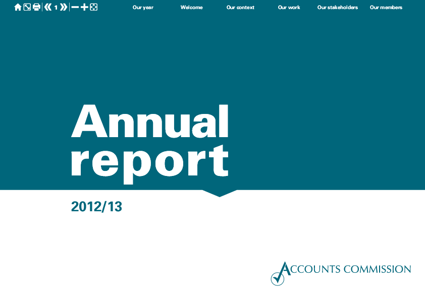 Report cover: Accounts Commission Annual Report 2012/13 and Action plans