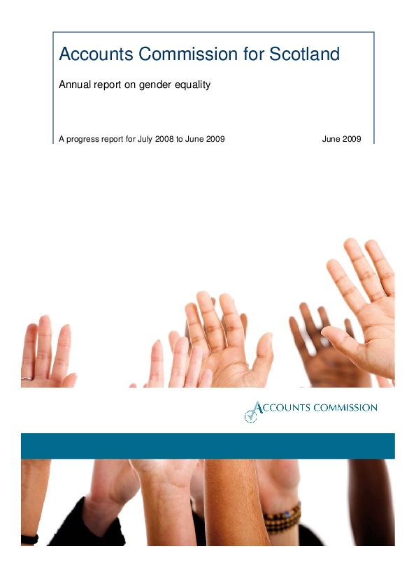 Report cover: Accounts Commission Annual Report on Gender Equality - progress report for July 2008 to June 2009