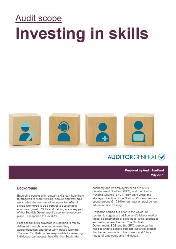 Report cover: Investing in skills - audit scope