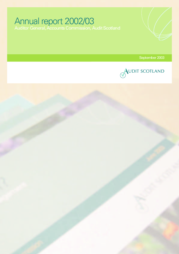 Report cover: Audit Scotland annual report and accounts for 2002/03