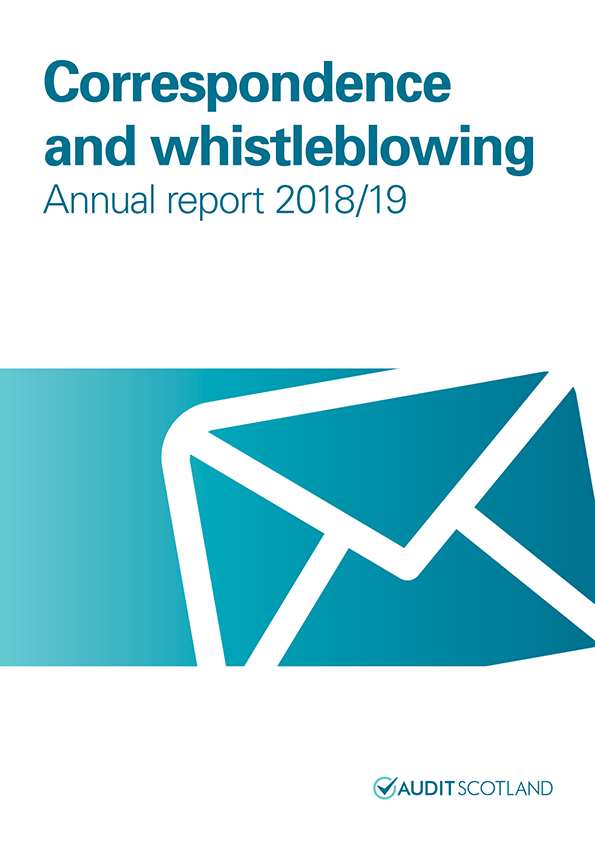 Report cover: Correspondence and whistleblowing annual report 2018/19