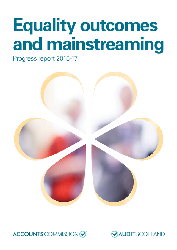 Report cover: Equality outcomes and mainstreaming: progress report 2015-2017