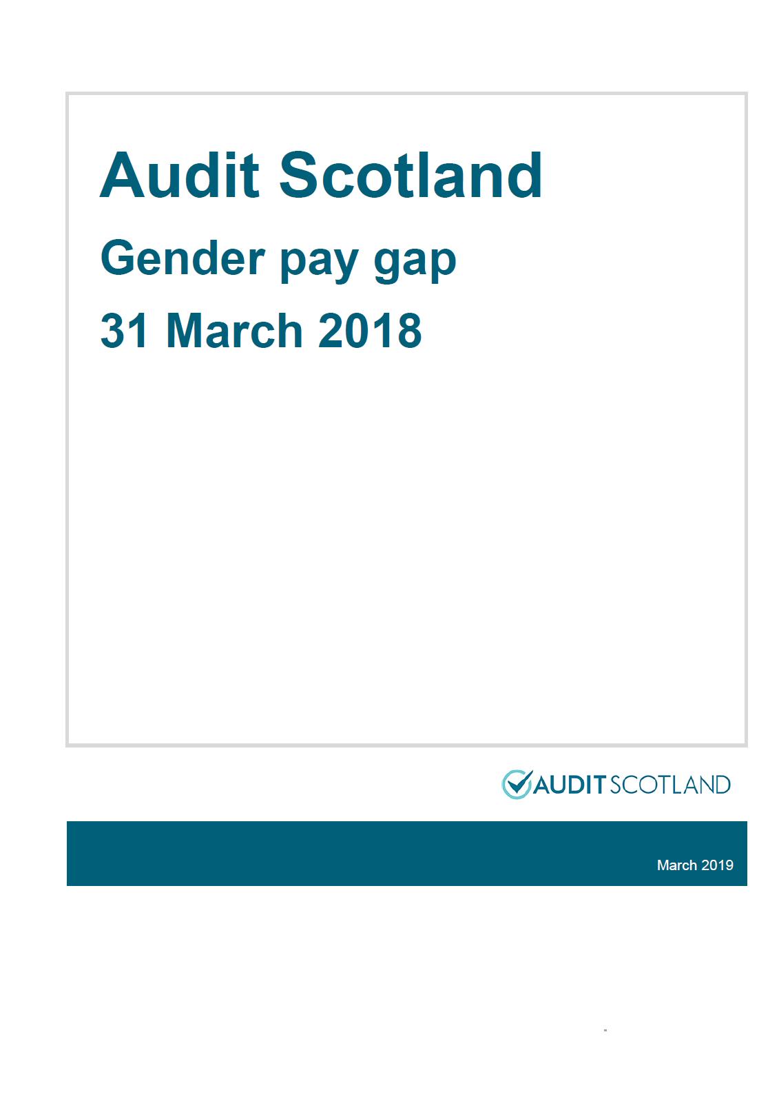 Report cover: Audit Scotland: Gender pay gap 2019