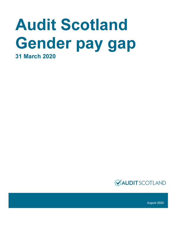 Report cover: Audit Scotland: Gender pay gap 2020