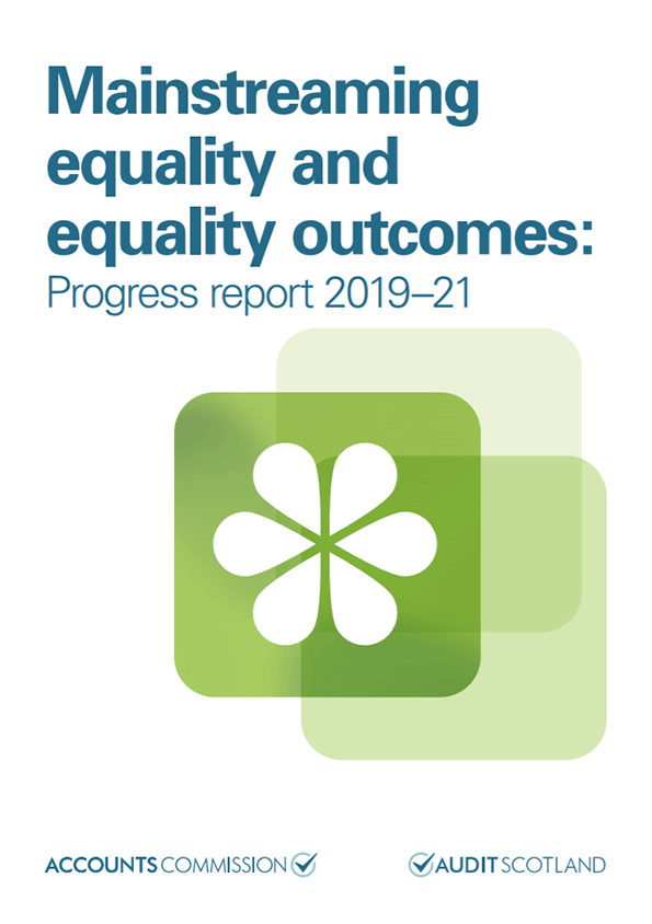 Report cover: Mainstreaming equality and equality outcomes: progress report 2019-21