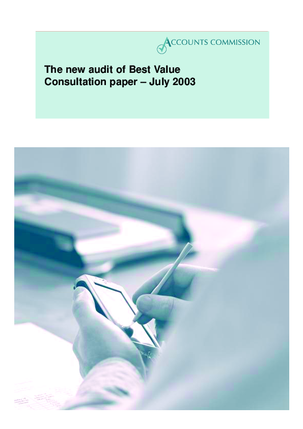 Report cover: The new audit of Best Value: Consultation paper - July 2003