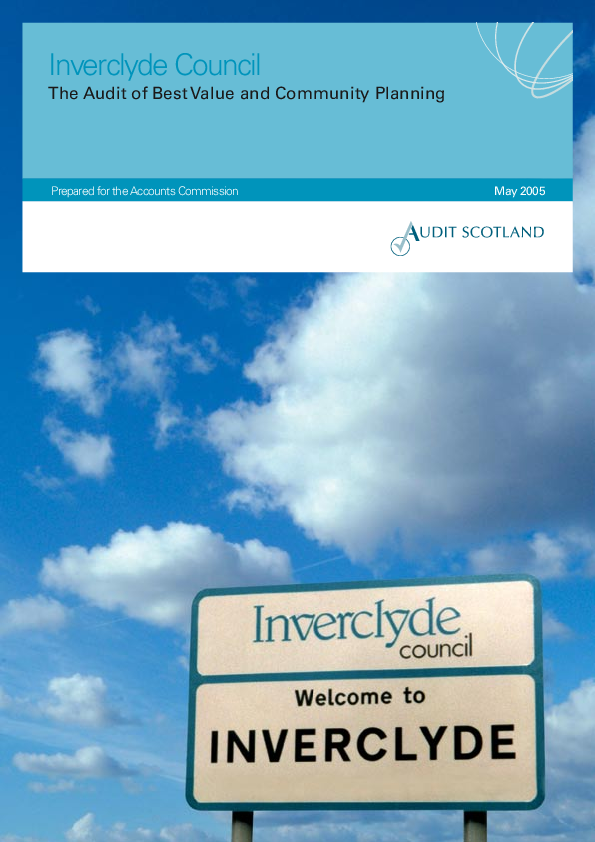 Report cover: Inverclyde Council: The Audit of Best Value and Community Planning