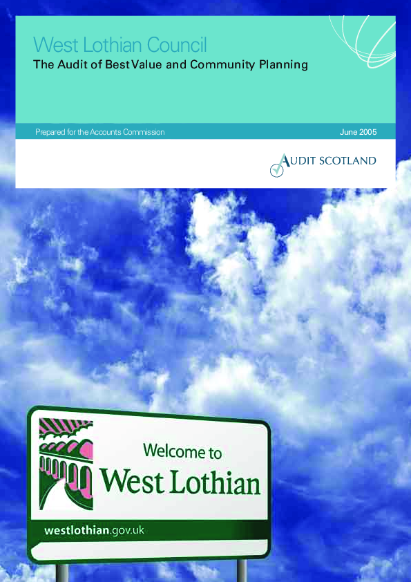 Report cover: West Lothian Council: The Audit of Best Value and Community Planning
