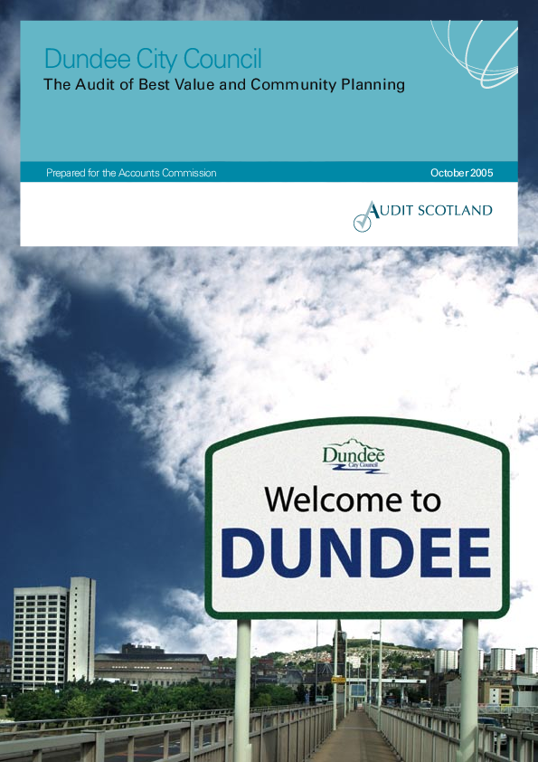 Report cover: Dundee City Council: The Audit of Best Value and Community Planning