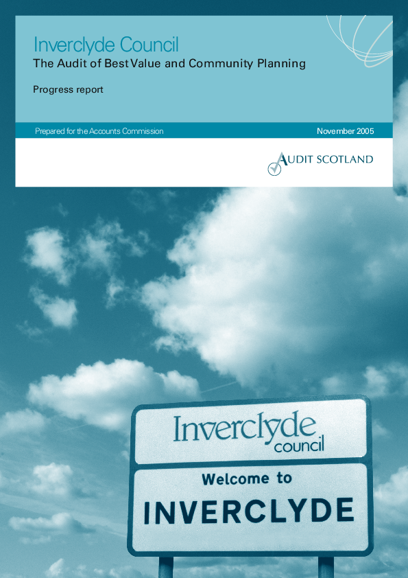 Report cover: Inverclyde Council: The Audit of Best Value and Community Planning - progress report 2005