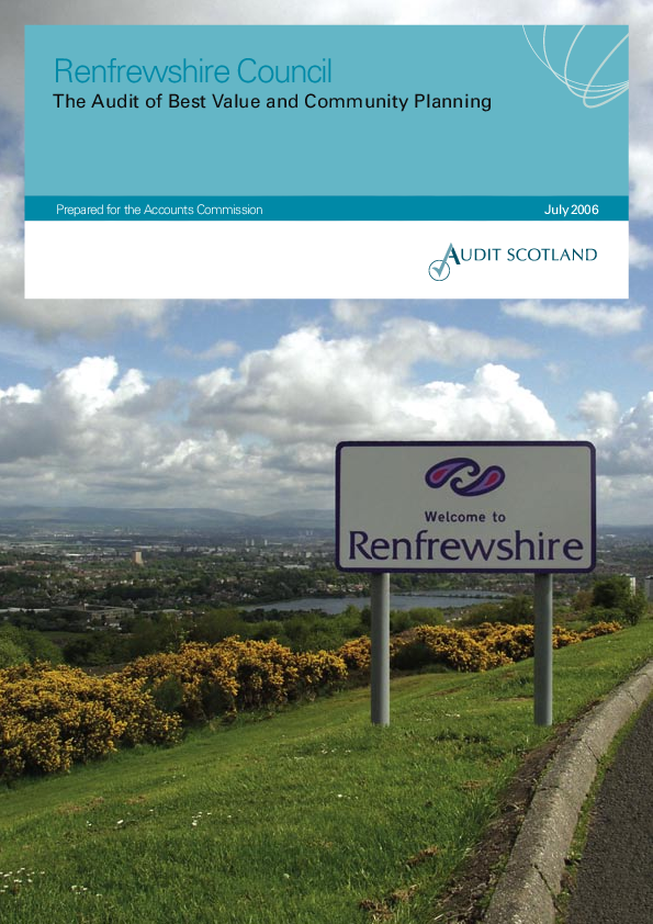 Report cover: Renfrewshire Council: the Audit of Best Value and Community Planning