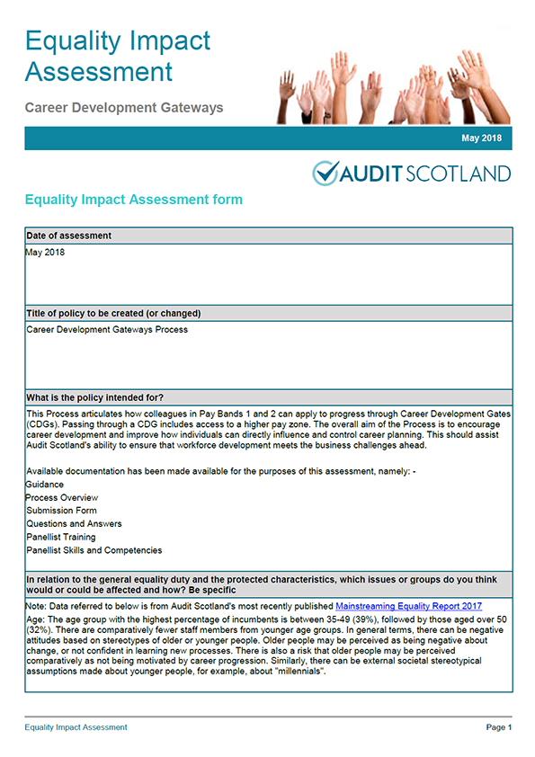 Report cover: Equality Impact Assessment: Career Development Gateways