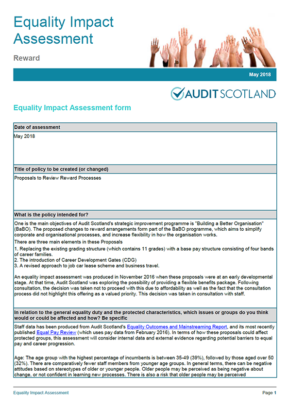 Report cover: Equality Impact Assessment: Reward