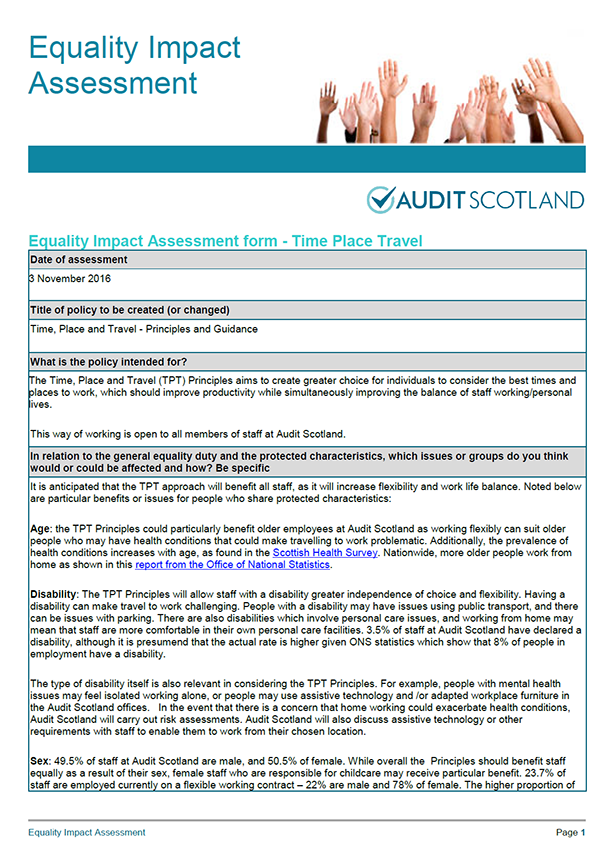 Report cover: Equality Impact Assessment: Time, Place and Travel