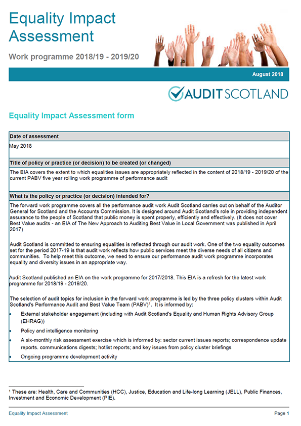 Report cover: Equality Impact Assessment: Work programme 2018/19 - 2019/20