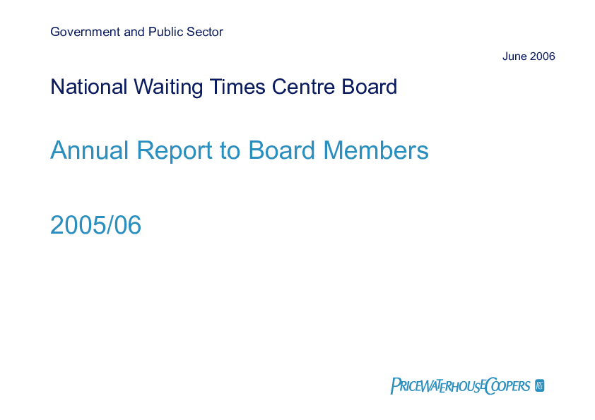 Report cover: National Waiting Times Centre Board annual audit 2005/06