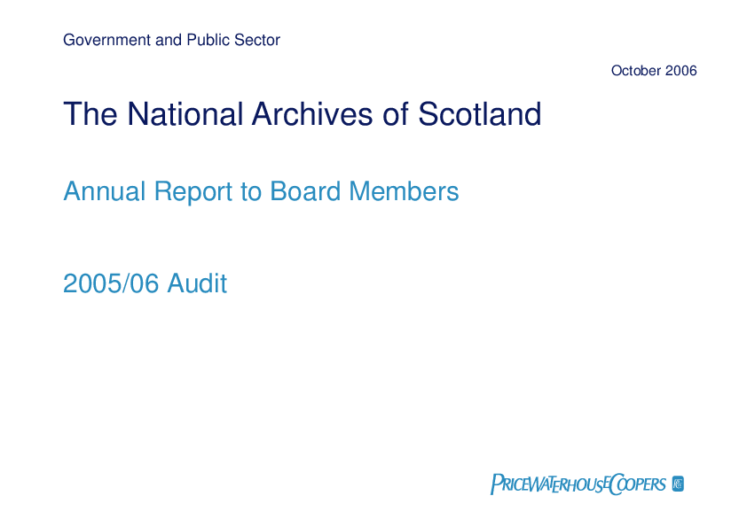Report cover: National Archives of Scotland annual audit 2005/06