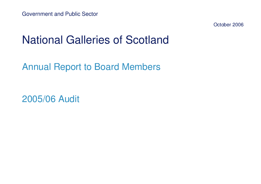 Report cover: National Galleries of Scotland annual audit 2005/06