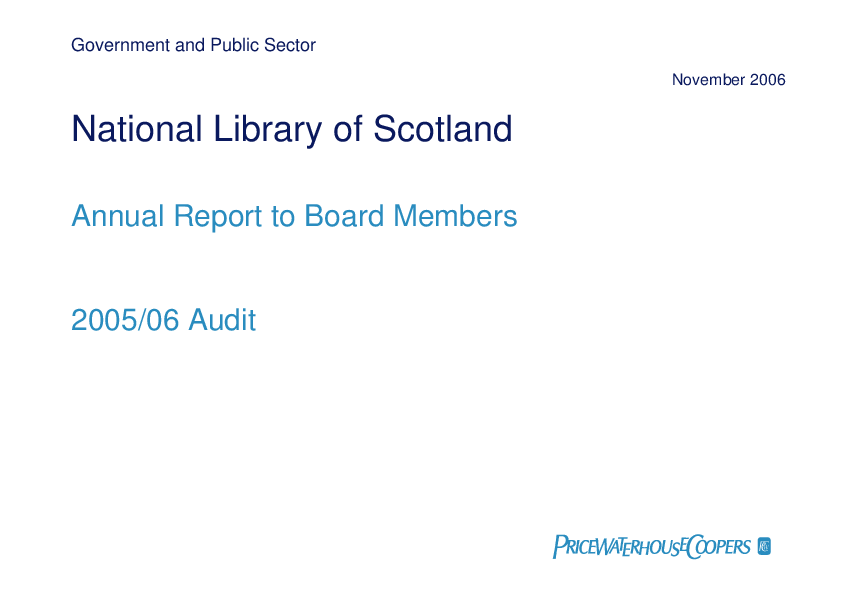 Report cover: National Library of Scotland annual audit 2005/06