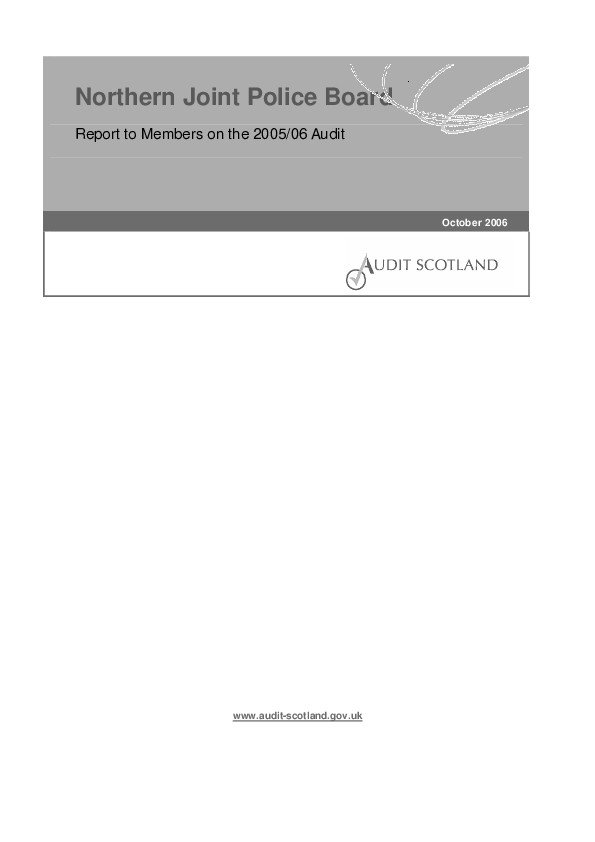 Report cover: Northern Joint Police Board annual audit 2005/06