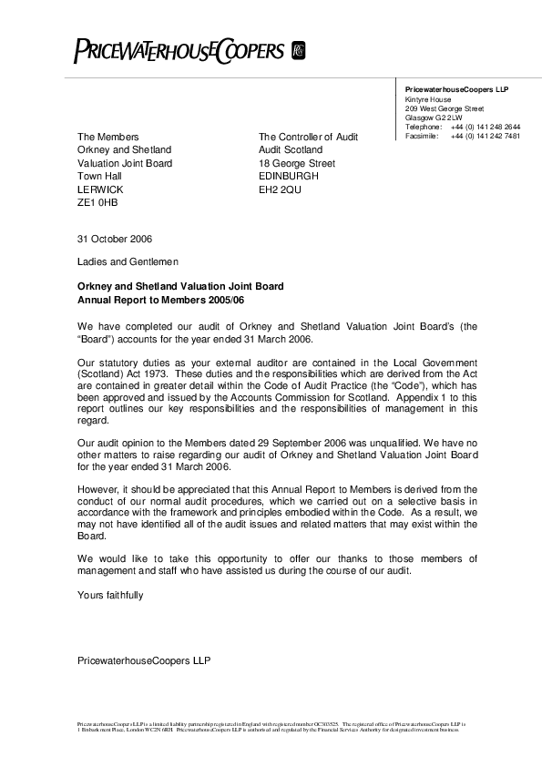 Report cover: Orkney & Shetland Valuation Joint Board annual audit 2005/06