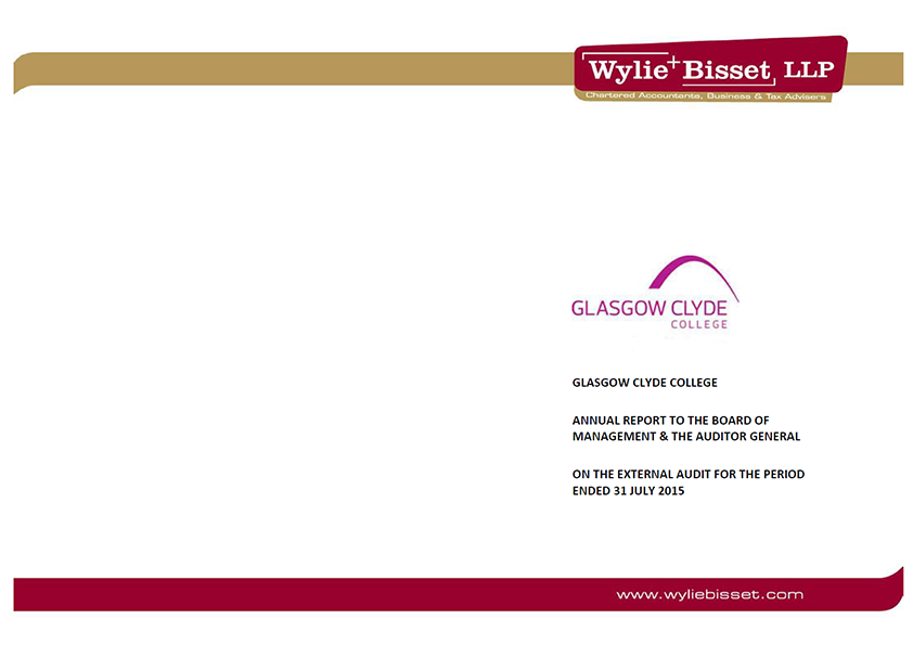 Report cover: Glasgow Clyde College annual audit 2014/15