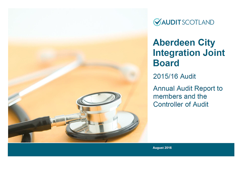 Report cover: Aberdeen City Integration Joint Board annual audit 2015/16
