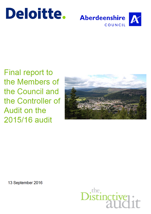 Report cover: Aberdeenshire Council annual audit 2015/16