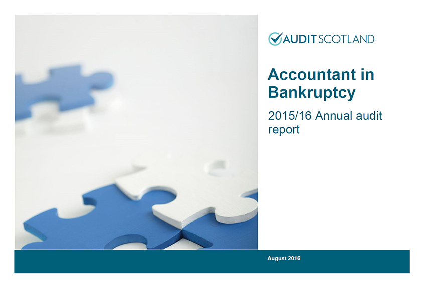 Report cover: Accountant in Bankruptcy annual audit 2015/16