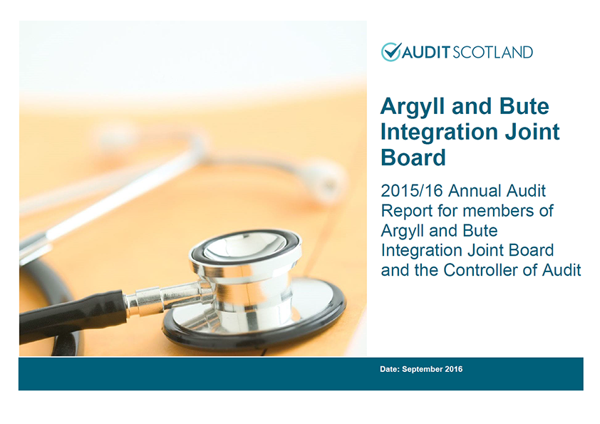 Report cover: Argyll and Bute Integration Joint Board annual audit 2015/16