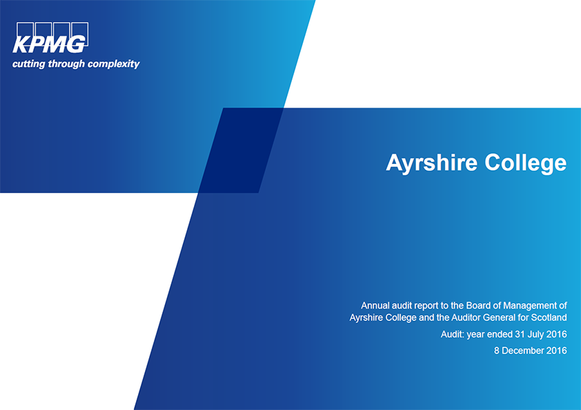 Report cover: Ayrshire College annual audit 2015/16