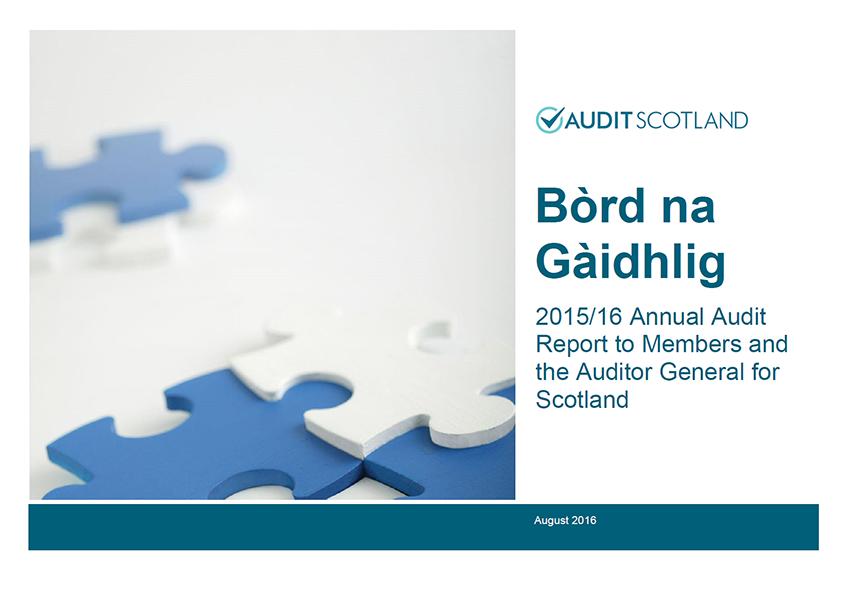 Report cover: Bòrd na Gàidhlig annual audit 2015/16