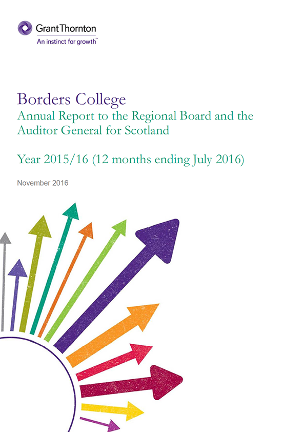 Report cover: Borders College annual audit 2015/16