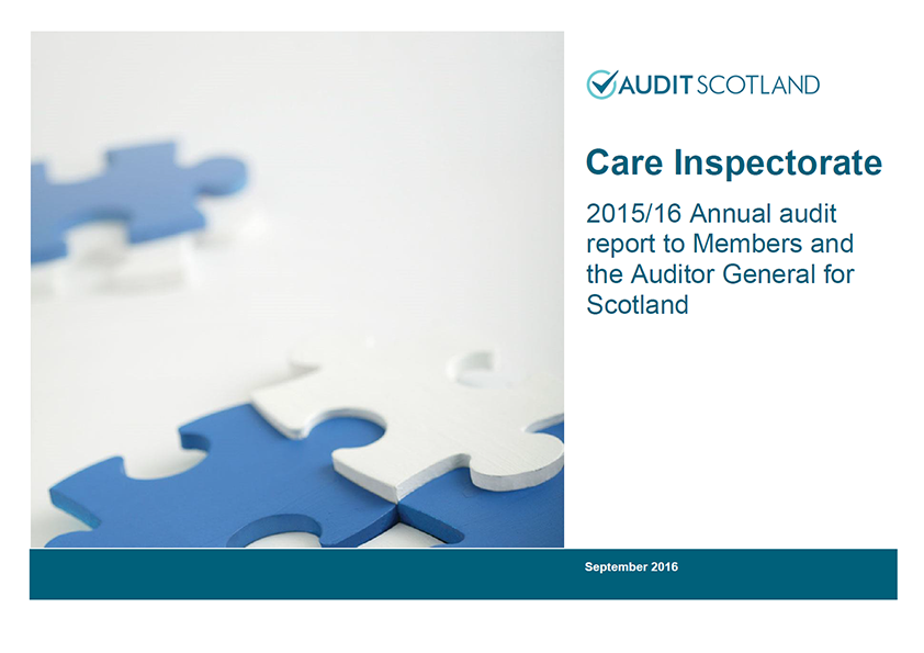 Report cover: Care Inspectorate annual audit 2015/16