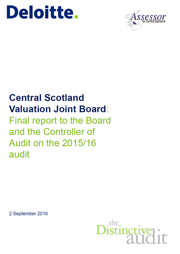 Report cover: Central Scotland Valuation Joint Board annual audit 2015/16