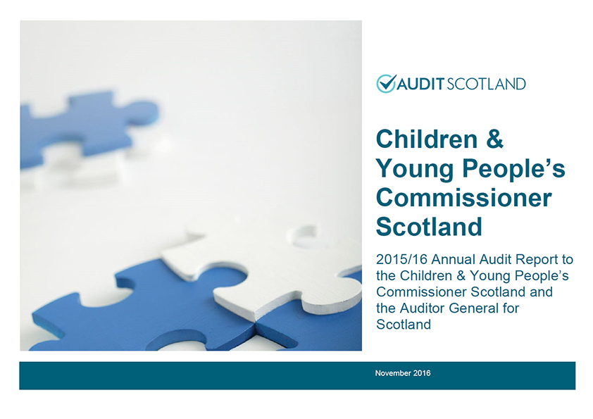 Report cover: Children and Young People's Commissioner Scotland annual audit 2015/16