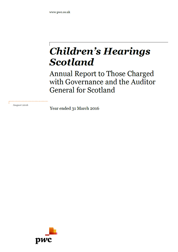 Report cover: Children's Hearings Scotland annual audit 2015/16