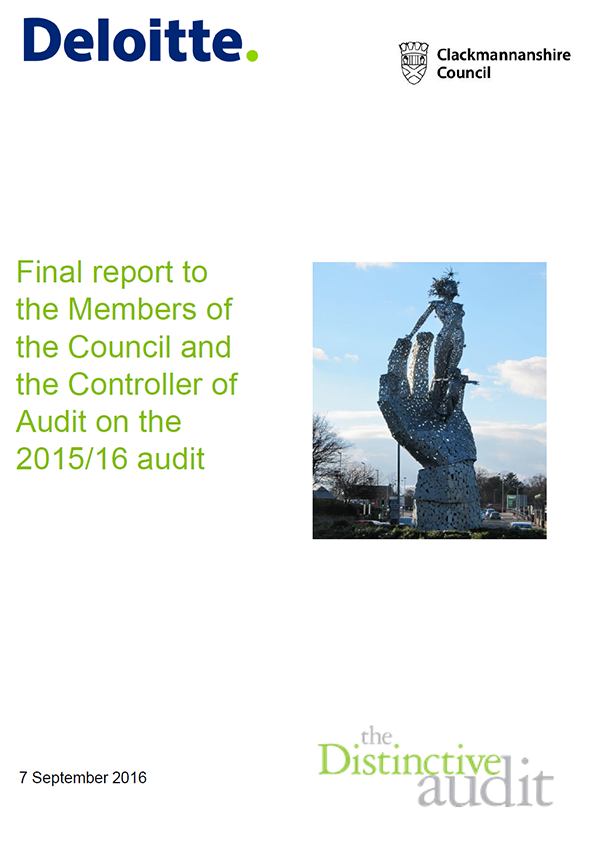 Report cover: Clackmannanshire Council annual audit 2015/16