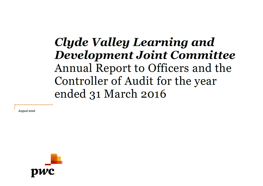 Report cover: Clyde Valley Learning and Development Joint Committee annual audit 2015/16
