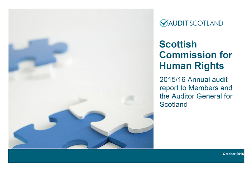 Report cover: Scottish Commission for Human Rights annual audit 2015/16