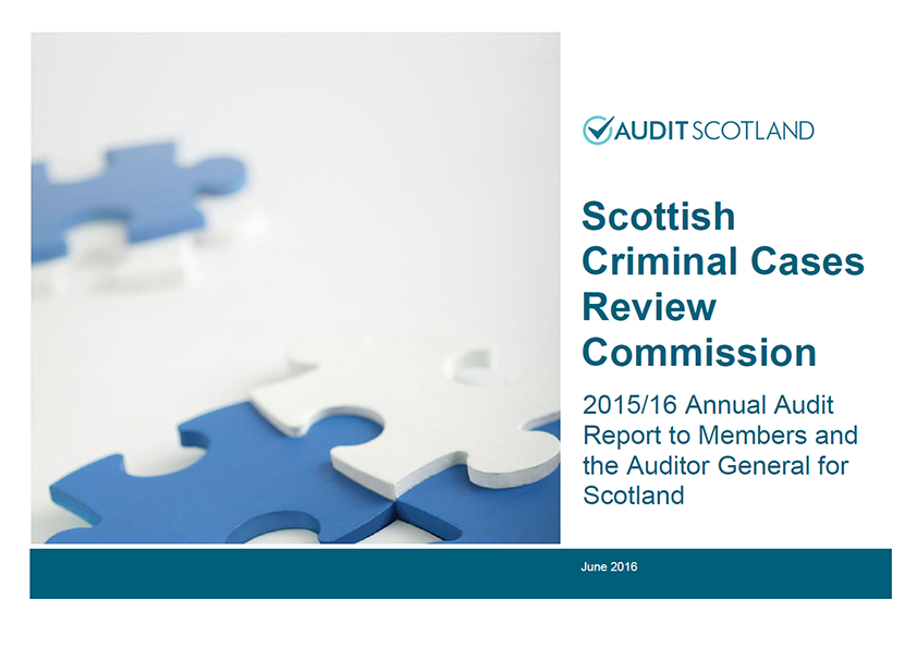 Report cover: Scottish Criminal Cases Review Commission annual audit 2015/16