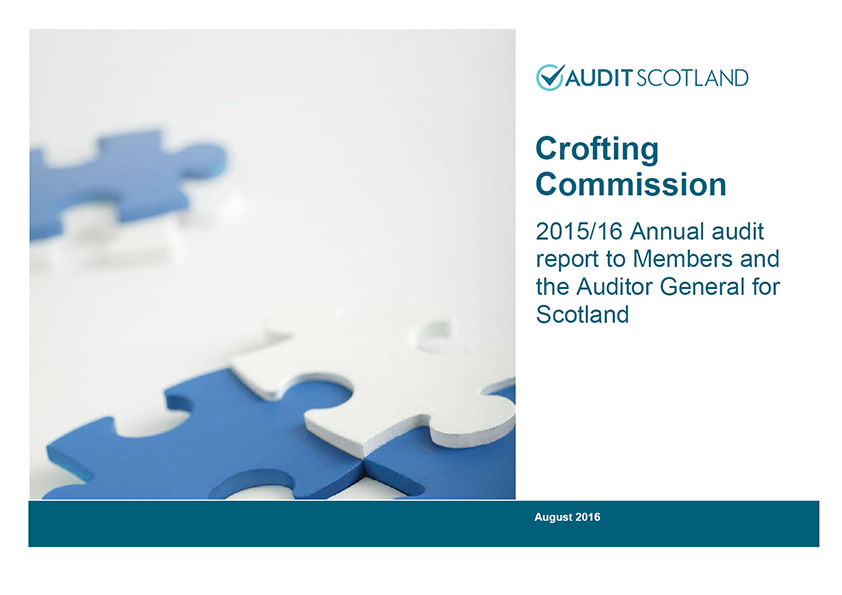 Report cover: Crofting Commission annual audit 2015/16