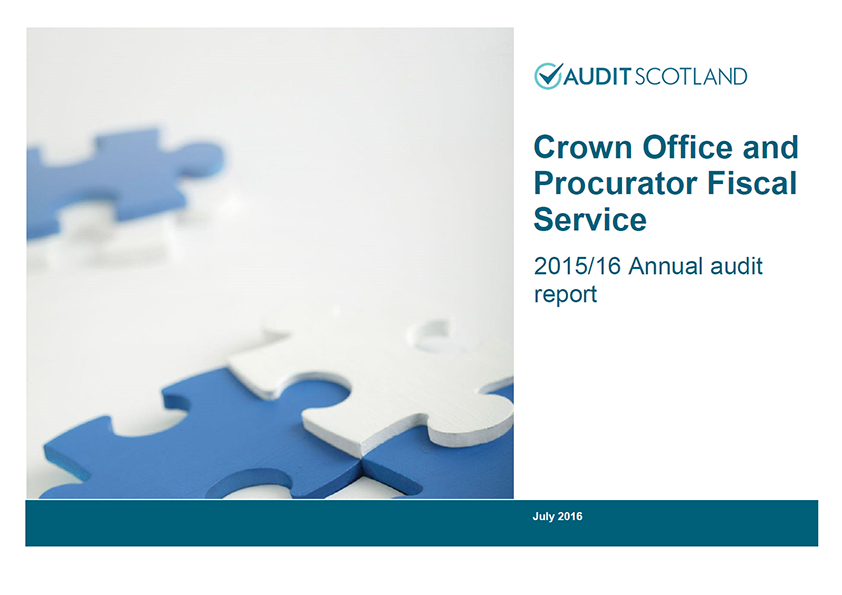 Report cover: Crown Office and Procurator Fiscal Service annual audit 2015/16