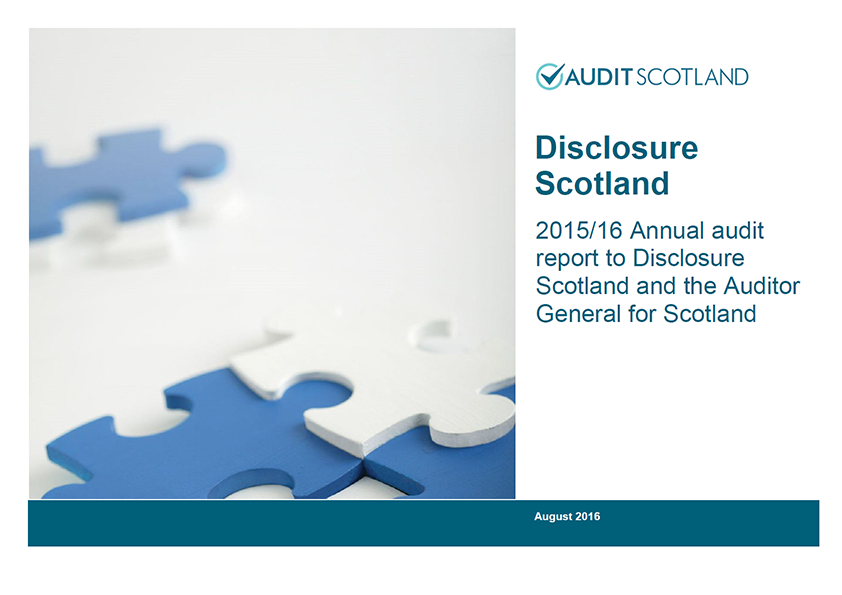 Report cover: Disclosure Scotland annual audit 2015/16