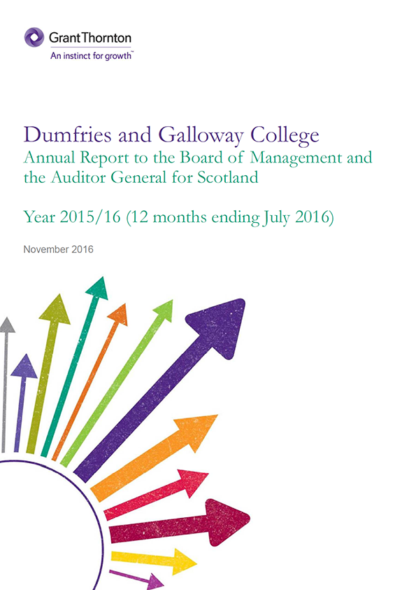 Report cover: Dumfries and Galloway College annual audit 2015/16