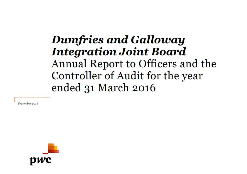 Report cover: Dumfries and Galloway Integration Joint Board annual audit 2015/16