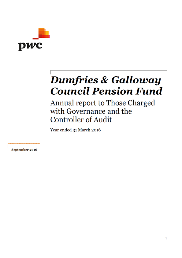 Report cover: Dumfries and Galloway Council Pension Fund annual audit 2015/16