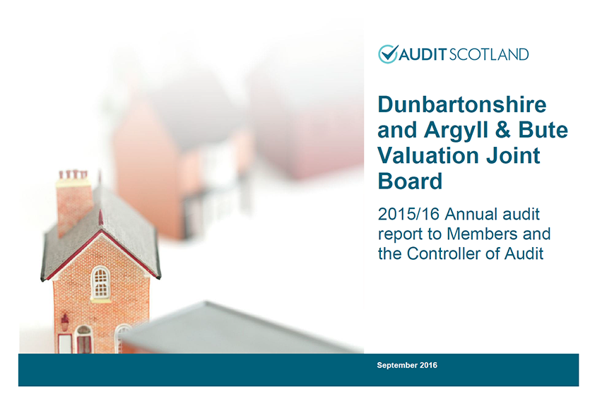 Report cover: Dunbartonshire and Argyll and Bute Valuation Joint Board annual audit 2015/16