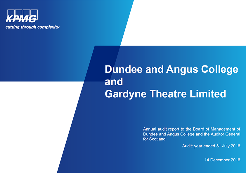 Report cover: Dundee and Angus College annual audit 2015/16